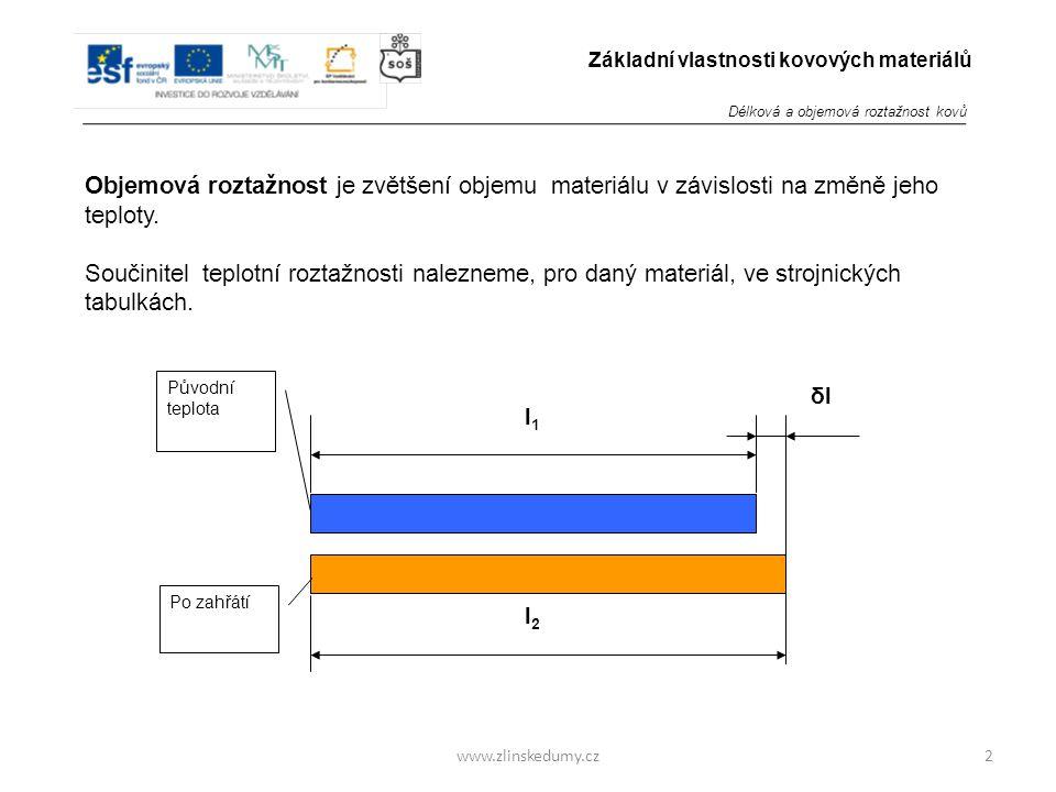 www.zlinskedumy.cz Objemová roztažnost je zvětšení objemu materiálu v závislosti na změně jeho teploty.
