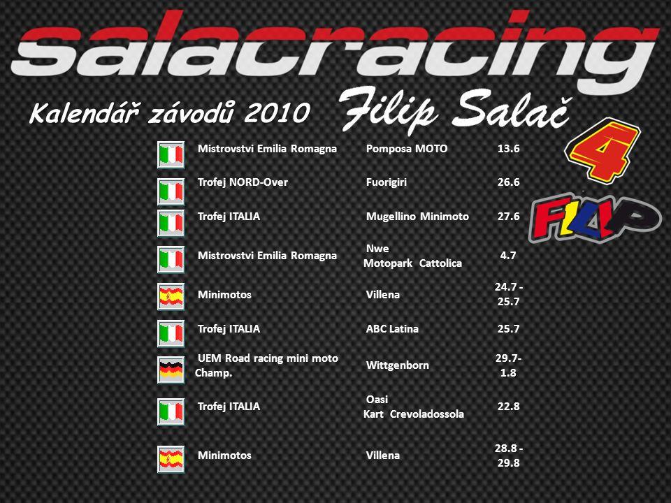 Kalendář závodů 2010 Mistrovstvi Emilia Romagna Pomposa MOTO13.6 Trofej NORD-Over Fuorigiri26.6 Trofej ITALIA Mugellino Minimoto27.6 Mistrovstvi Emili