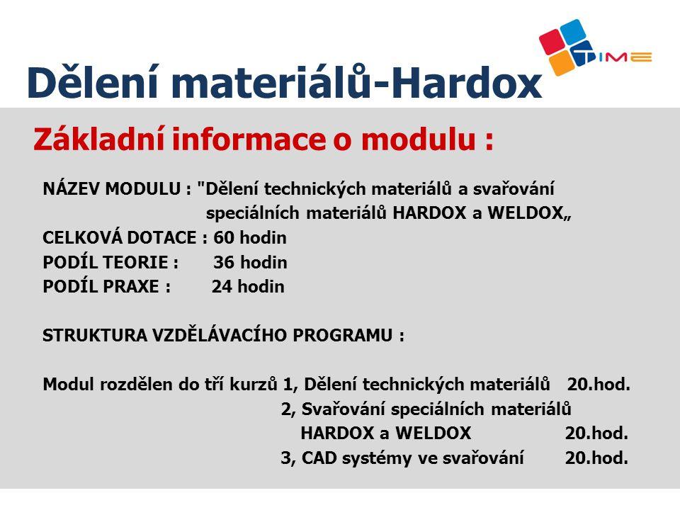 Popis výukových prostor : SŠAMP Dělení materiálů-Hardox