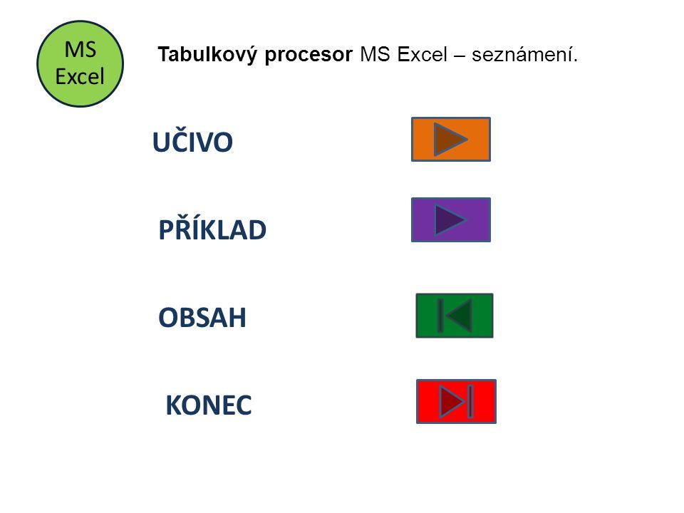 MS Excel UČIVO PŘÍKLAD OBSAH KONEC Tabulkový procesor MS Excel – seznámení.