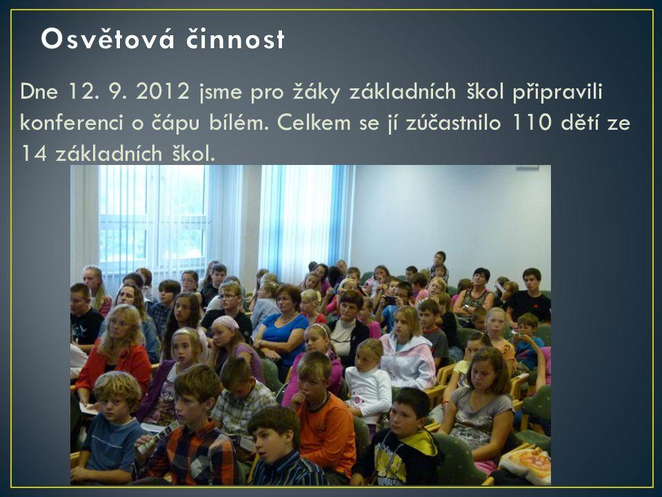 Dne 12. 9. 2012 jsme pro žáky základních škol připravili konferenci o čápu bílém. Celkem se jí zúčastnilo 110 dětí ze 14 základních škol.