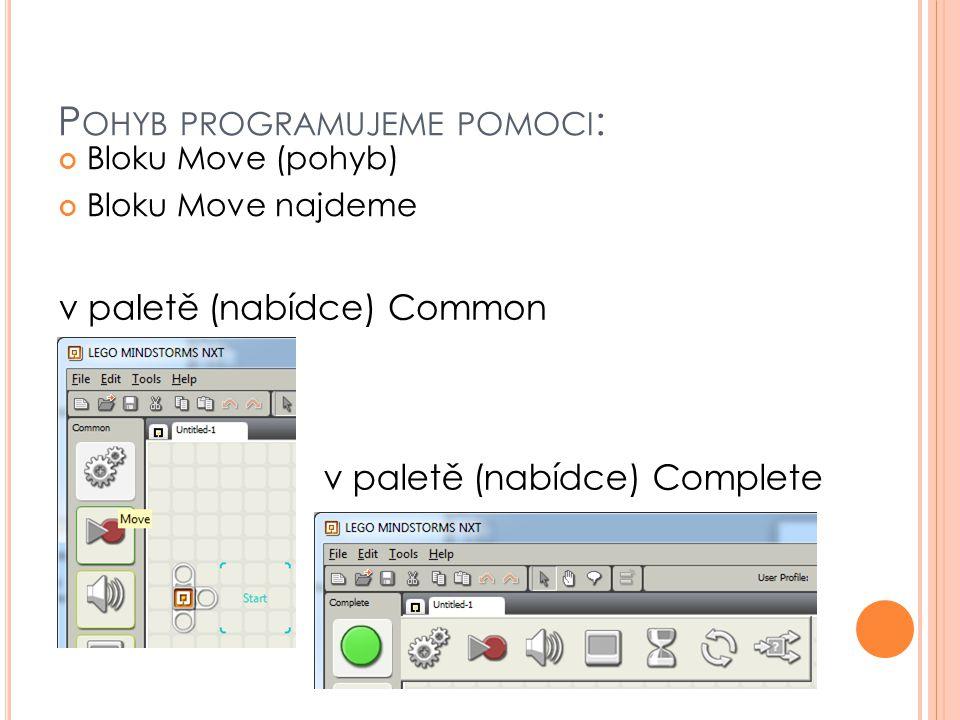 P OHYB PROGRAMUJEME POMOCI : Bloku Move (pohyb) Bloku Move najdeme v paletě (nabídce) Complete v paletě (nabídce) Common