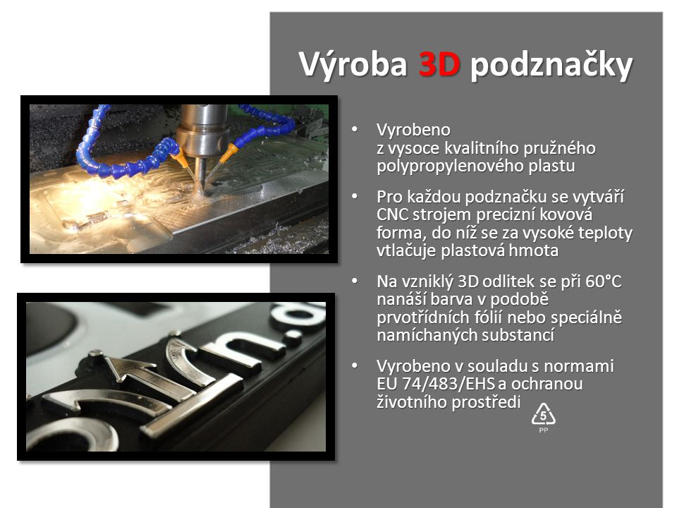 Výroba 3D podznačky Výroba 3D podznačky • Vyrobeno z vysoce kvalitního pružného polypropylenového plastu • Pro každou podznačku se vytváří CNC strojem
