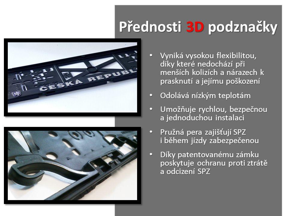 Přednosti 3D podznačky Přednosti 3D podznačky • Vyniká vysokou flexibilitou, díky které nedochází při menších kolizích a nárazech k prasknutí a jejímu
