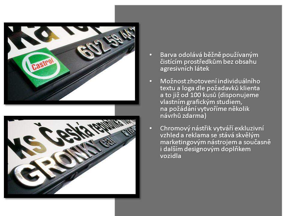 • Barva odolává běžně používaným čistícím prostředkům bez obsahu agresivních látek • Možnost zhotovení individuálního textu a loga dle požadavků klien