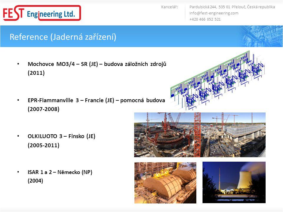 • Mochovce MO3/4 – SR (JE) – budova záložních zdrojů (2011) • EPR-Flammanville 3 – Francie (JE) – pomocná budova (2007-2008) • OLKILUOTO 3 – Finsko (J