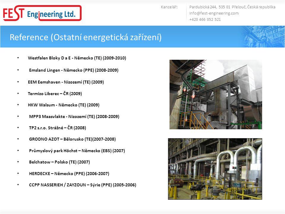 Reference (Ostatní energetická zařízení) • Westfalen Bloky D a E - Německo (TE) (2009-2010) • Emsland Lingen - Německo (PPE) (2008-2009) • EEM Eemshav
