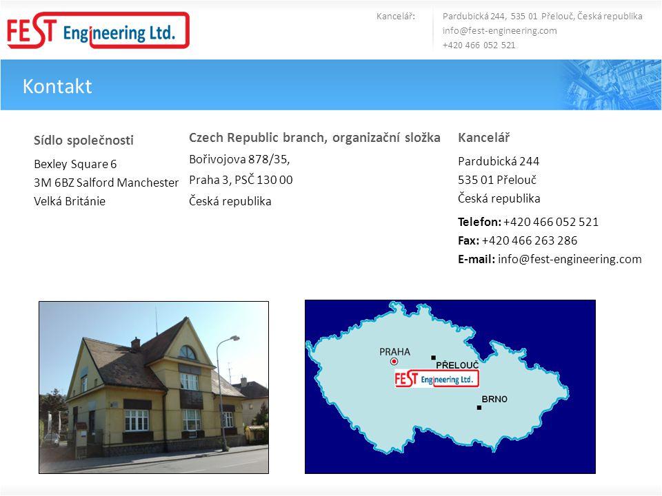 Kontakt Kancelář: Pardubická 244, 535 01 Přelouč, Česká republika info@fest-engineering.com +420 466 052 521 Sídlo společnosti Bexley Square 6 3M 6BZ