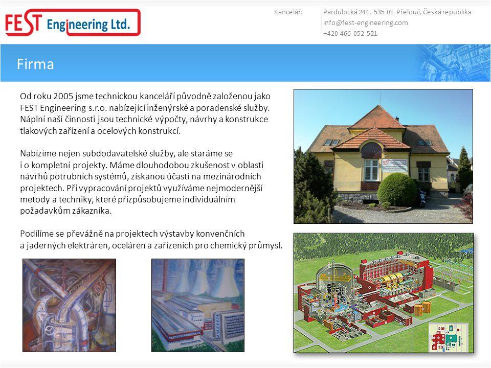 Firma Kancelář: Pardubická 244, 535 01 Přelouč, Česká republika info@fest-engineering.com +420 466 052 521 Od roku 2005 jsme technickou kanceláří půvo