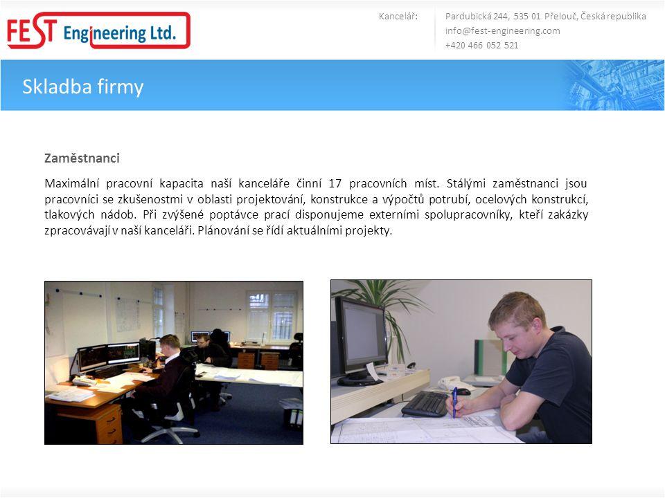 Skladba firmy Kancelář: Pardubická 244, 535 01 Přelouč, Česká republika info@fest-engineering.com +420 466 052 521 Zaměstnanci Maximální pracovní kapa