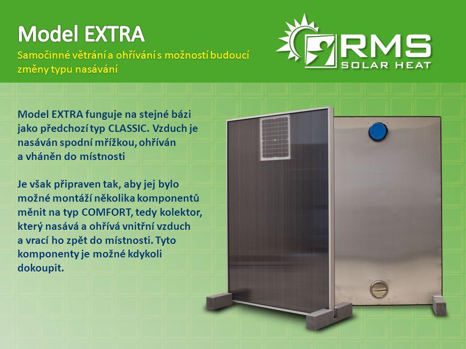 Model EXTRA funguje na stejné bázi jako předchozí typ CLASSIC. Vzduch je nasáván spodní mřížkou, ohříván a vháněn do místnosti Je však připraven tak,
