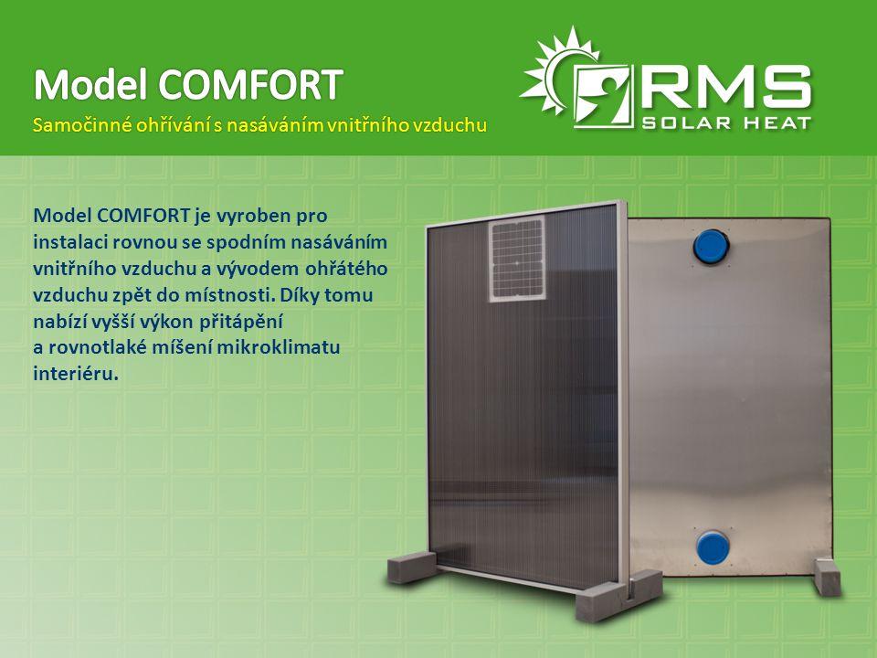 Model COMFORT je vyroben pro instalaci rovnou se spodním nasáváním vnitřního vzduchu a vývodem ohřátého vzduchu zpět do místnosti. Díky tomu nabízí vy
