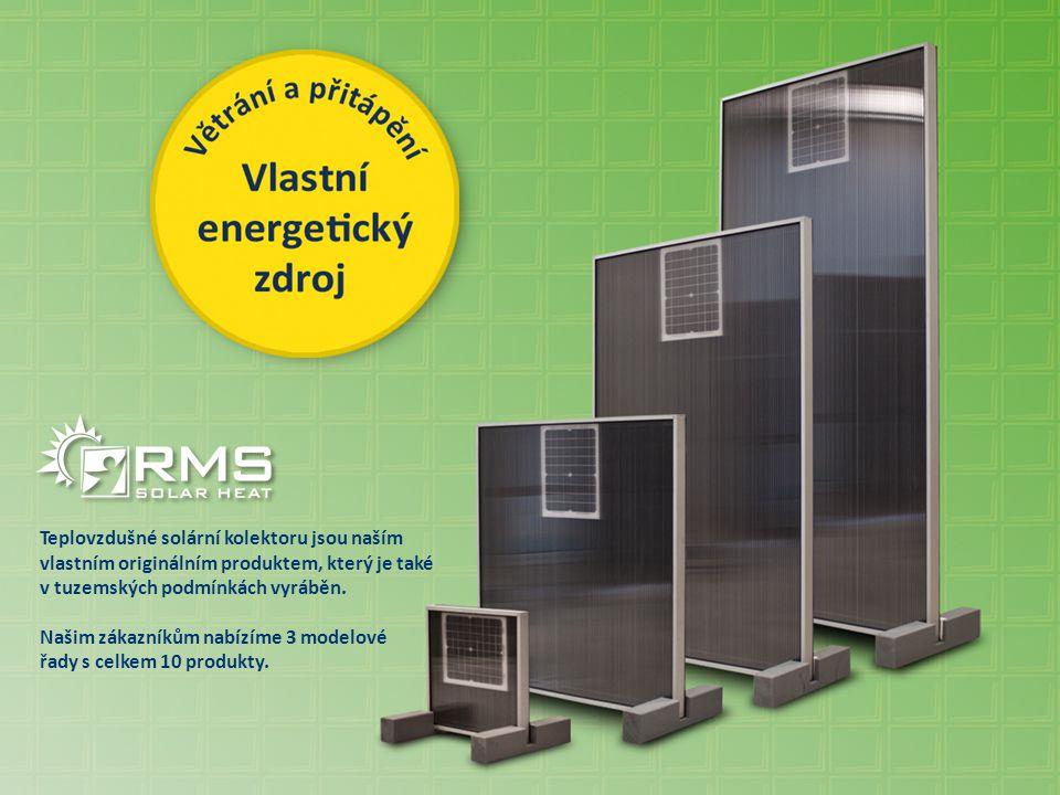 Teplovzdušné solární kolektoru jsou naším vlastním originálním produktem, který je také v tuzemských podmínkách vyráběn. Našim zákazníkům nabízíme 3 m