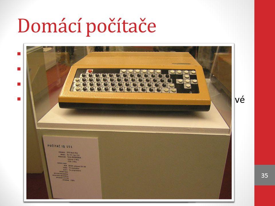 Domácí počítače 35  rozšíření v 80. letech 20. st.  používal se levný 8-bitový procesor  různé varianty programovacího jazyka BASIC  data se nahrá