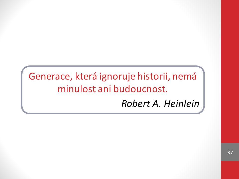 37 Generace, která ignoruje historii, nemá minulost ani budoucnost. Robert A. Heinlein