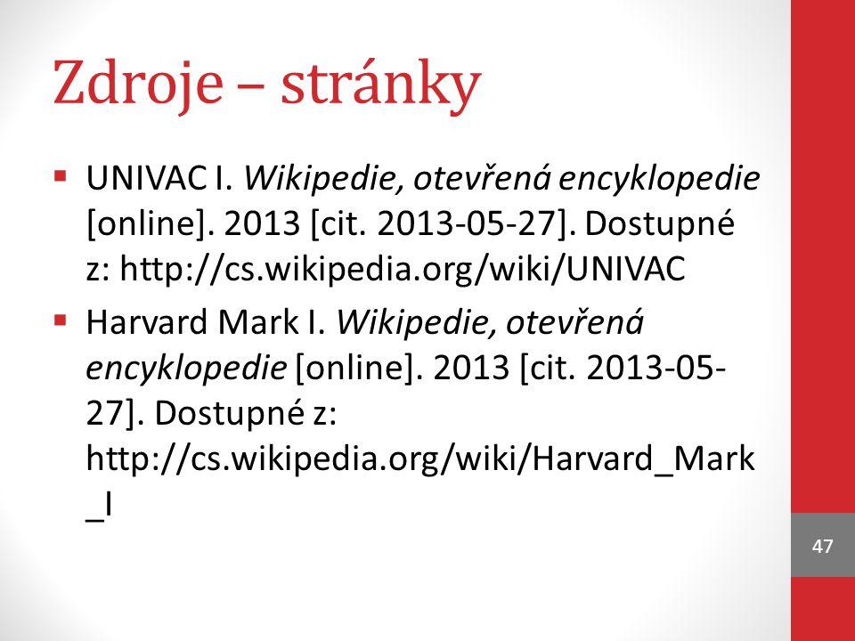 Zdroje – stránky  UNIVAC I.Wikipedie, otevřená encyklopedie [online].