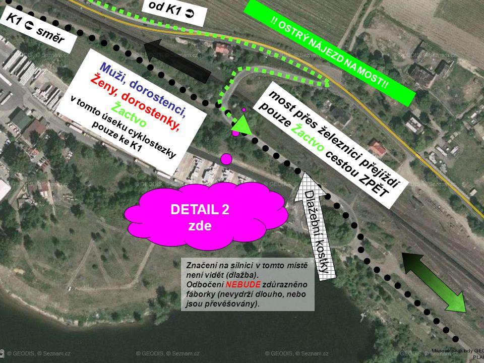 DETAIL 2 zde K1  směr Muži, dorostenci, Ženy, dorostenky, Žactvo v tomto úseku cyklostezky pouze ke K1 most přes železnici přejíždí pouze Žactvo cest