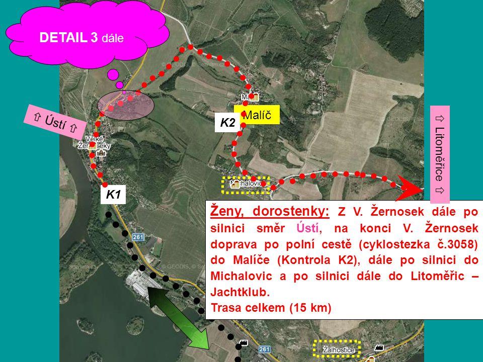 K1 Ženy, dorostenky: Z V. Žernosek dále po silnici směr Ústí, na konci V. Žernosek doprava po polní cestě (cyklostezka č.3058) do Malíče (Kontrola K2)