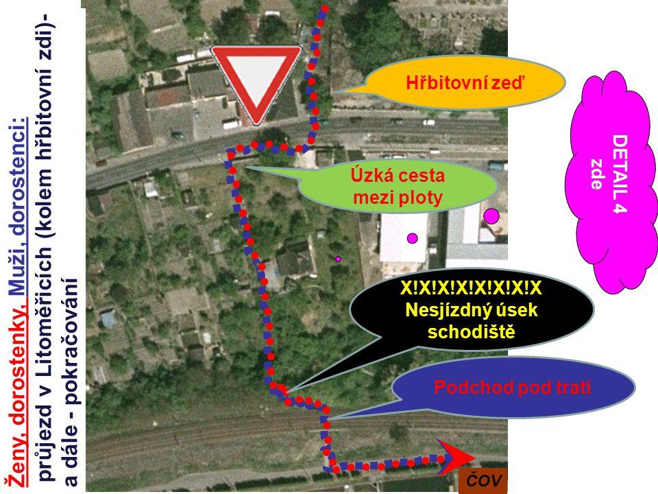 Ženy, dorostenky, Muži, dorostenci: průjezd v Litoměřicích (kolem hřbitovní zdi)- a dále - pokračování Hřbitovní zeď Úzká cesta mezi ploty Podchod pod