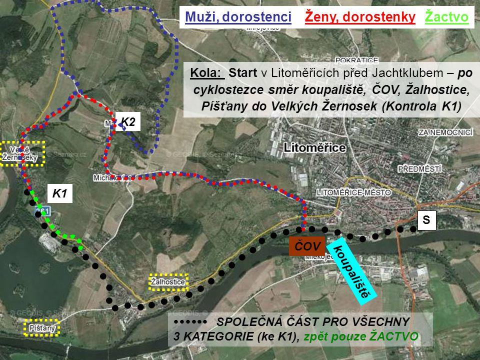 K1 K2 Kola: Start v Litoměřicích před Jachtklubem – po cyklostezce směr koupaliště, ČOV, Žalhostice, Píšťany do Velkých Žernosek (Kontrola K1) koupali