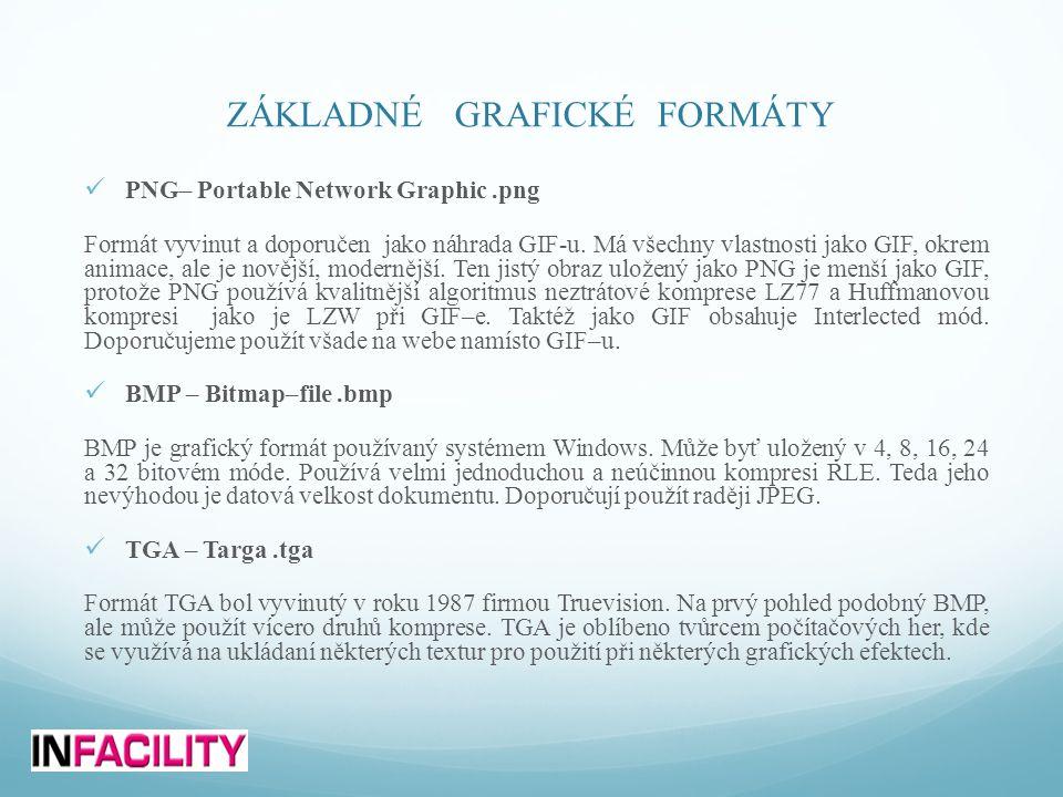 ZÁKLADNÉ GRAFICKÉ FORMÁTY  PNG– Portable Network Graphic.png Formát vyvinut a doporučen jako náhrada GIF-u. Má všechny vlastnosti jako GIF, okrem ani