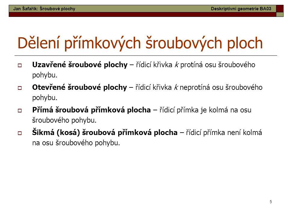 26 Přímková šroubová plocha uzavřená kosoúhláotevřená kosoúhlá Jan Šafařík: Šroubové plochyDeskriptivní geometrie BA03