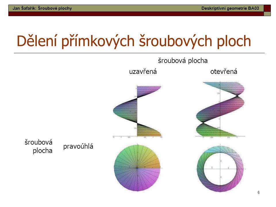 6 šroubová plocha uzavřenáotevřená šroubová plocha pravoúhlá Dělení přímkových šroubových ploch Jan Šafařík: Šroubové plochyDeskriptivní geometrie BA03