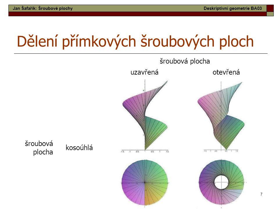 7 šroubová plocha uzavřenáotevřená šroubová plocha kosoúhlá Dělení přímkových šroubových ploch Jan Šafařík: Šroubové plochyDeskriptivní geometrie BA03
