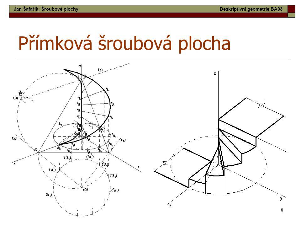 9 Šroubové plochy užívané ve stavební praxi  Přímkové šroubové plochy - vzniknou šroubovým pohybem přímky (úsečky), která není rovnoběžná s osou šroubového pohybu.