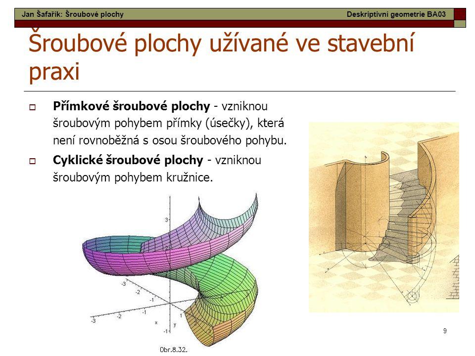 10 Šroubové plochy užívané ve stavební praxi  Otevřená pravoúhlá šroubová plocha se často užívá jako ozdobný prvek v architektuře.