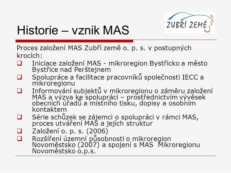 Historie – vznik MAS Proces založení MAS Zubří země o. p. s. v postupných krocích:  Iniciace založení MAS - mikroregion Bystřicko a město Bystřice na