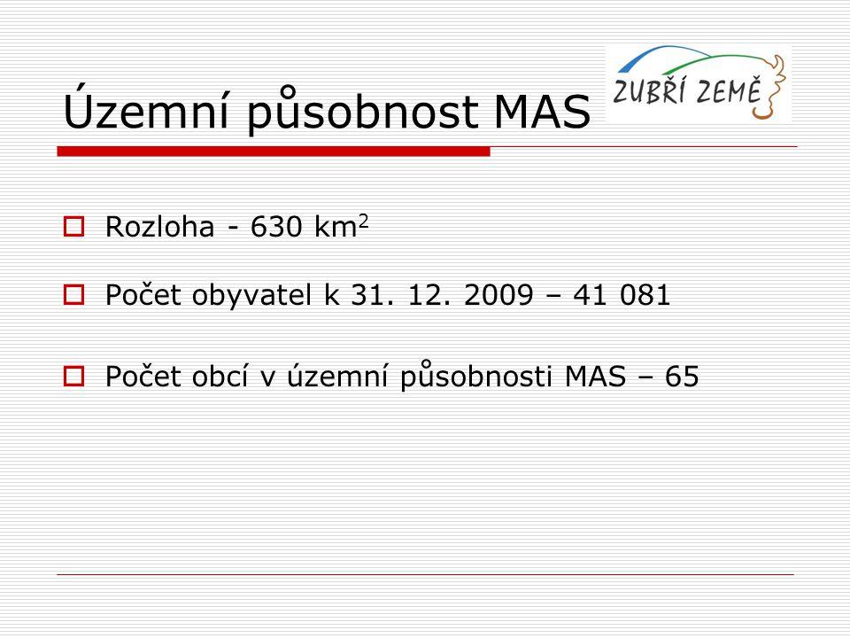  Rozloha - 630 km 2  Počet obyvatel k 31. 12. 2009 – 41 081  Počet obcí v územní působnosti MAS – 65 Územní působnost MAS
