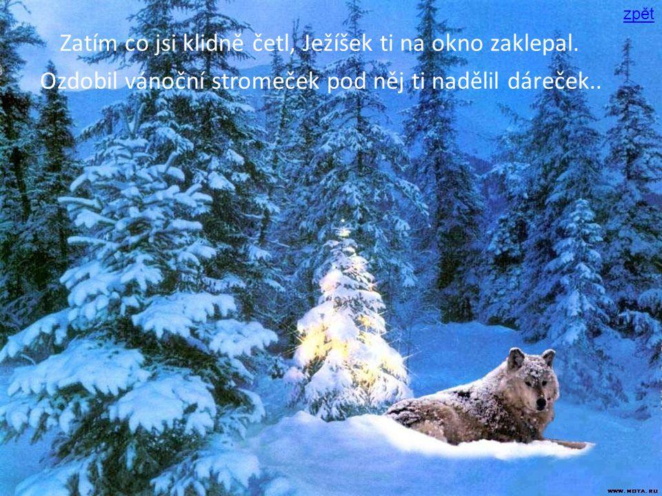 Zatím co jsi klidně četl, Ježíšek ti na okno zaklepal. Ozdobil vánoční stromeček pod něj ti nadělil dáreček.. zpět