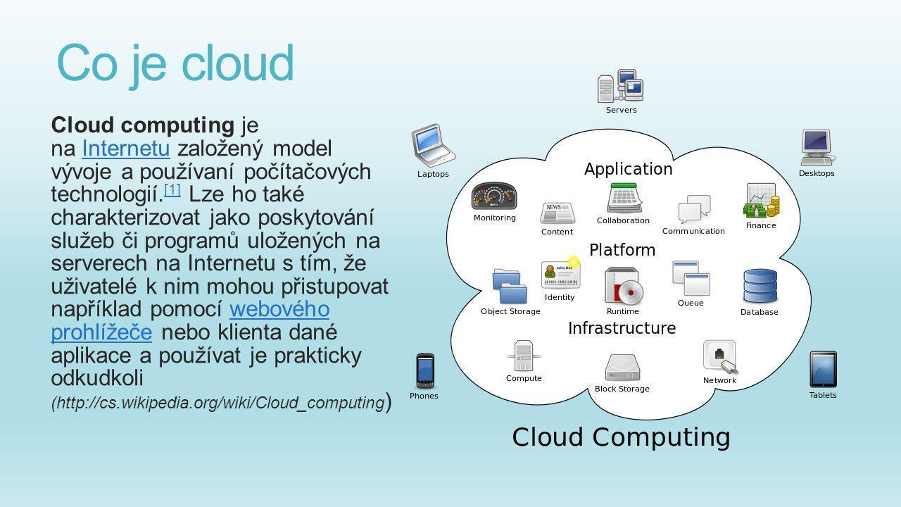 Co je cloud Cloud computing je na Internetu založený model vývoje a používaní počítačových technologií. [1] Lze ho také charakterizovat jako poskytová