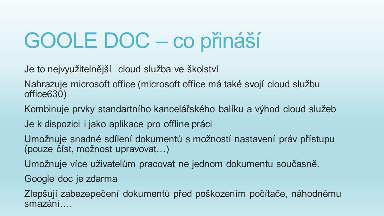 GOOLE DOC – co přináší Je to nejvyužitelnější cloud služba ve školství Nahrazuje microsoft office (microsoft office má také svojí cloud službu office6