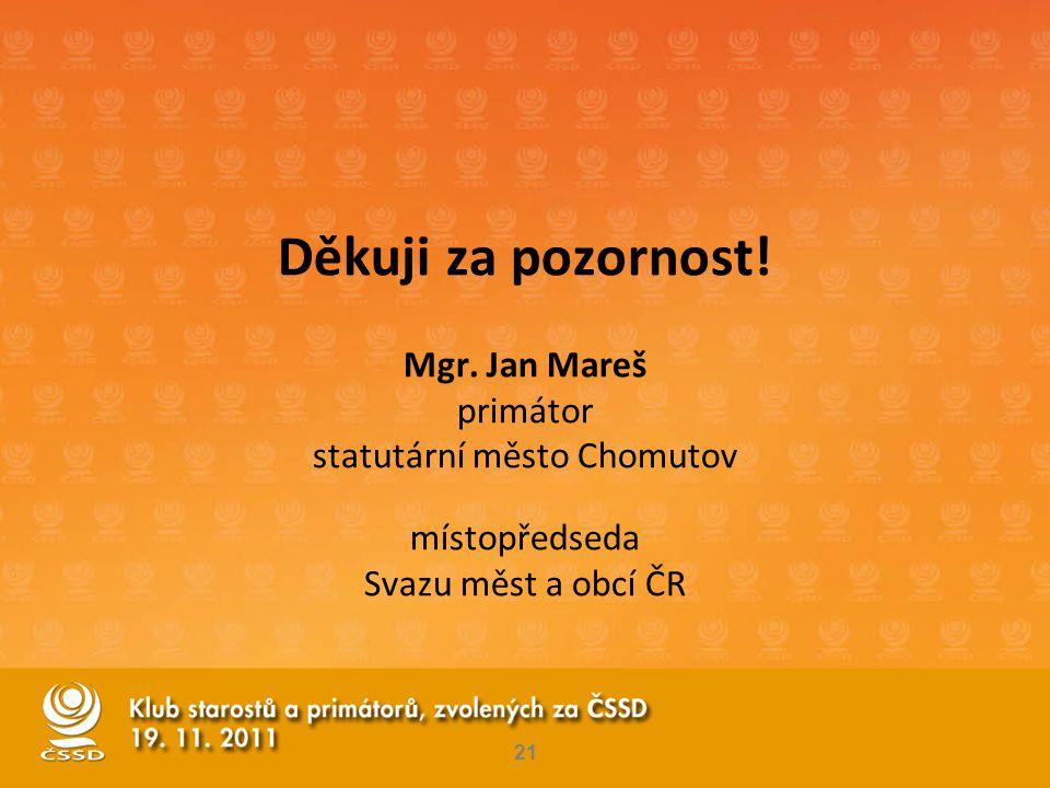 21 Děkuji za pozornost! Mgr. Jan Mareš primátor statutární město Chomutov místopředseda Svazu měst a obcí ČR
