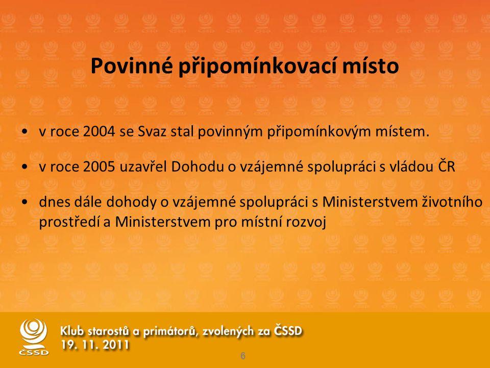 Povinné připomínkovací místo •v roce 2004 se Svaz stal povinným připomínkovým místem. •v roce 2005 uzavřel Dohodu o vzájemné spolupráci s vládou ČR •d