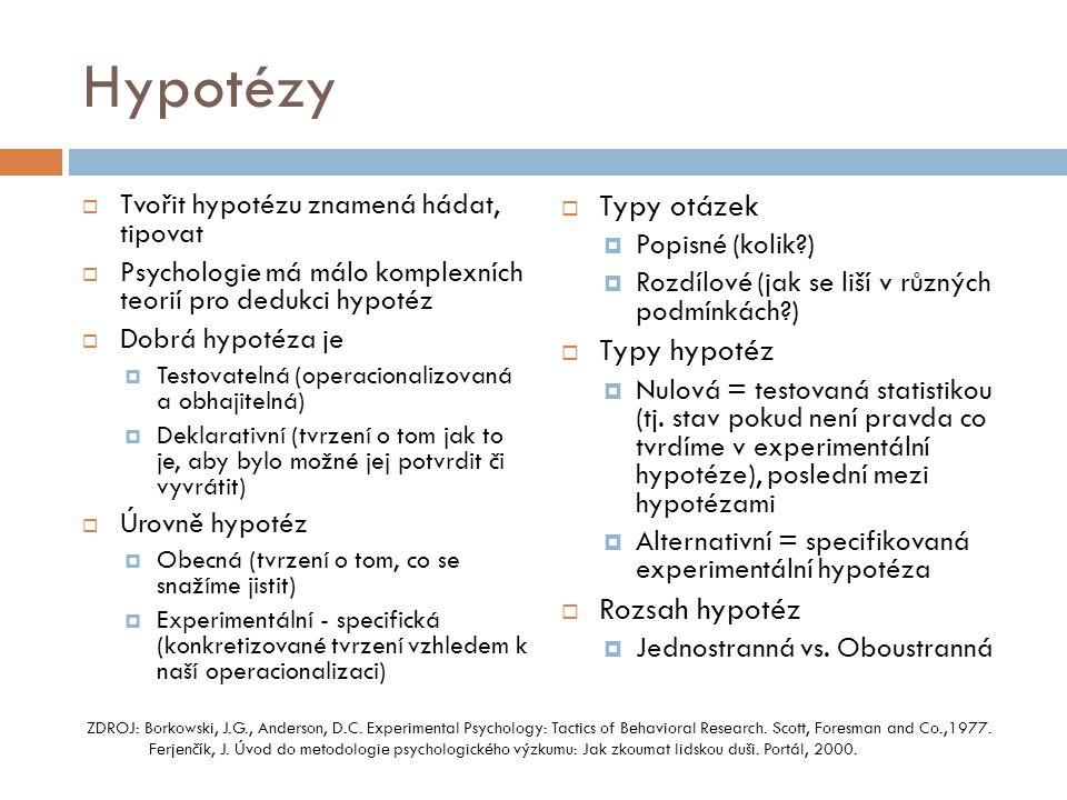 Hypotézy  Tvořit hypotézu znamená hádat, tipovat  Psychologie má málo komplexních teorií pro dedukci hypotéz  Dobrá hypotéza je  Testovatelná (ope