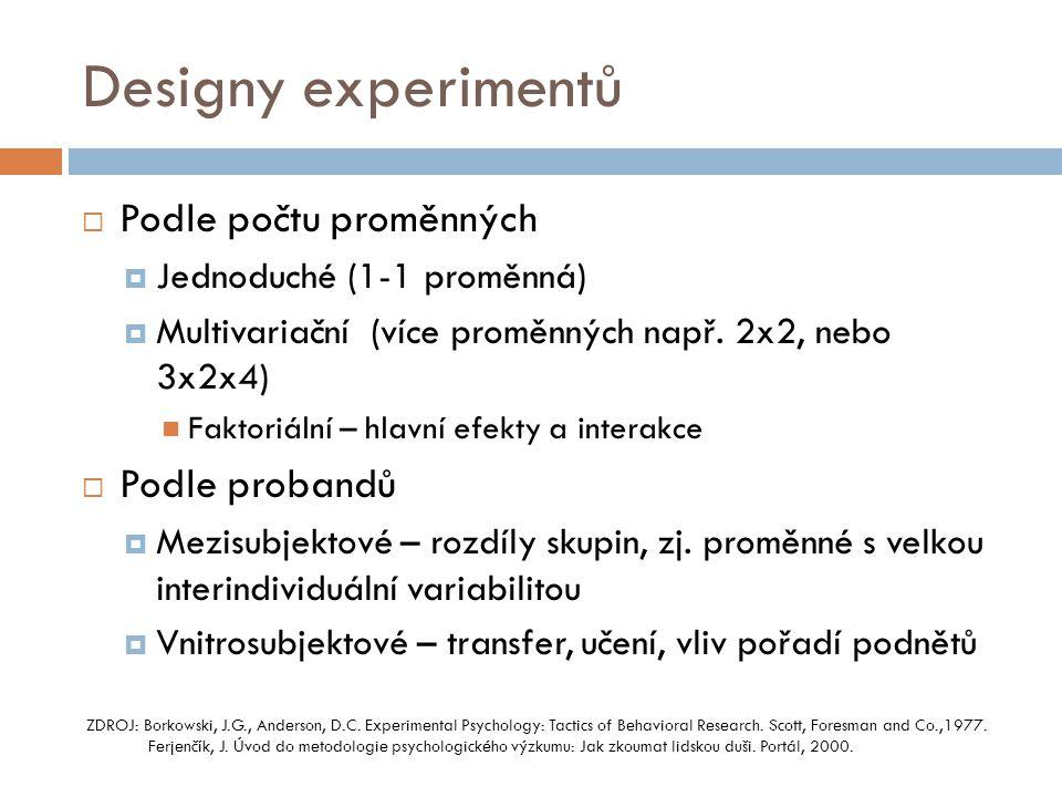 Designy experimentů  Podle počtu proměnných  Jednoduché (1-1 proměnná)  Multivariační (více proměnných např. 2x2, nebo 3x2x4)  Faktoriální – hlavn