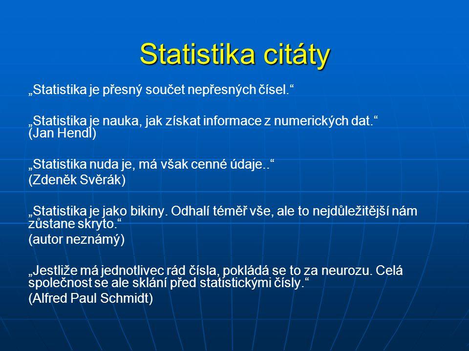 """Statistika citáty """"Statistika je přesný součet nepřesných čísel."""" """"Statistika je nauka, jak získat informace z numerických dat."""" (Jan Hendl) """"Statisti"""