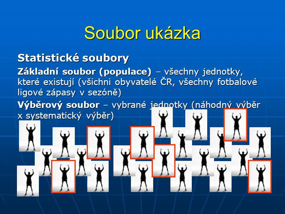 Soubor ukázka Statistické soubory Základní soubor (populace) – všechny jednotky, které existují (všichni obyvatelé ČR, všechny fotbalové ligové zápasy