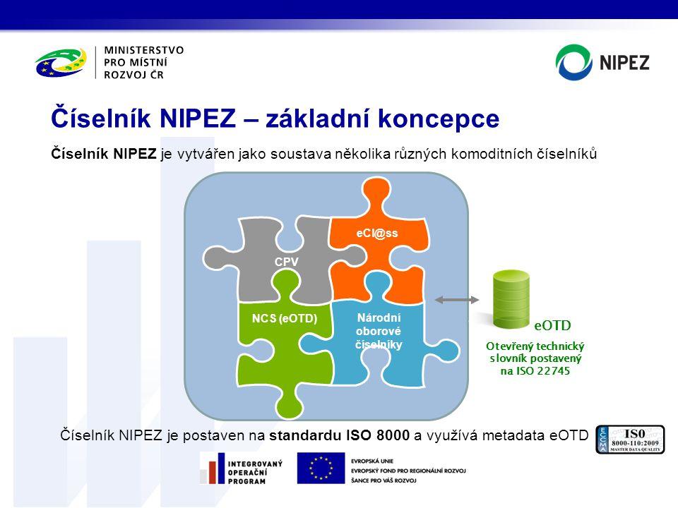 Číselník NIPEZ je vytvářen jako soustava několika různých komoditních číselníků Číselník NIPEZ je postaven na standardu ISO 8000 a využívá metadata eO