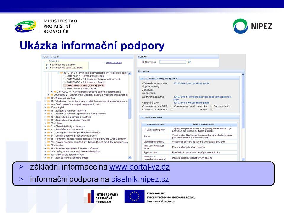 Ukázka informační podpory >základní informace na www.portal-vz.cz >informační podpora na ciselnik.nipez.cz