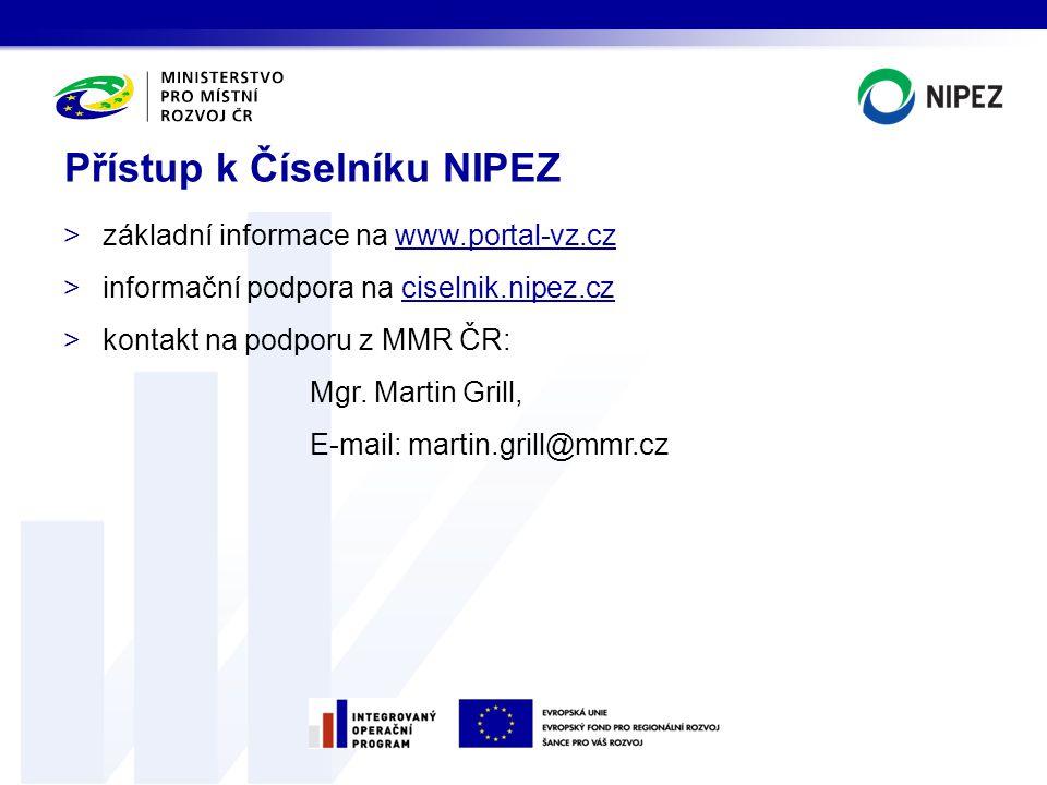 Přístup k Číselníku NIPEZ >základní informace na www.portal-vz.cz >informační podpora na ciselnik.nipez.cz >kontakt na podporu z MMR ČR: Mgr. Martin G