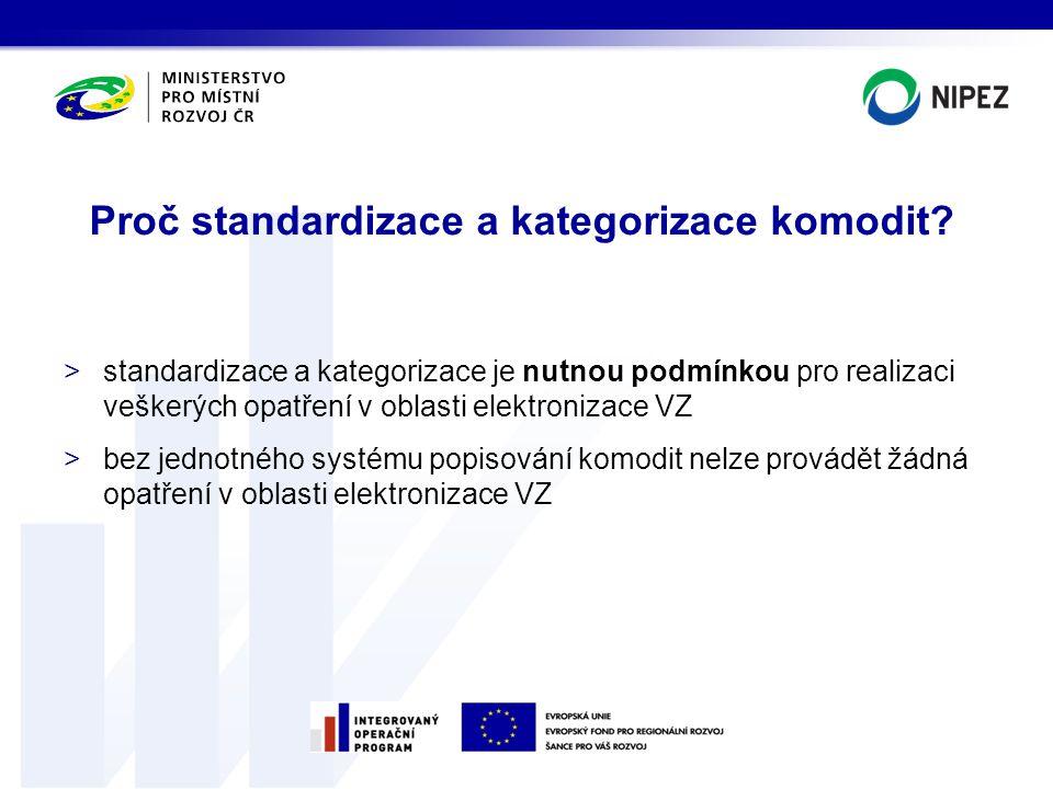Proč standardizace a kategorizace komodit? >standardizace a kategorizace je nutnou podmínkou pro realizaci veškerých opatření v oblasti elektronizace