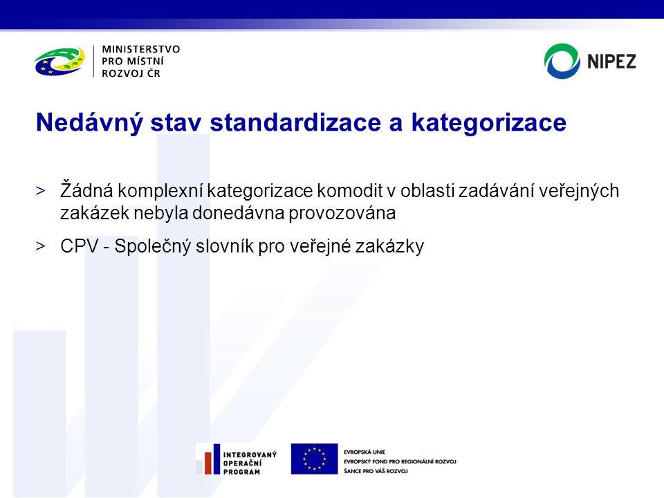 >Žádná komplexní kategorizace komodit v oblasti zadávání veřejných zakázek nebyla donedávna provozována >CPV - Společný slovník pro veřejné zakázky Ne