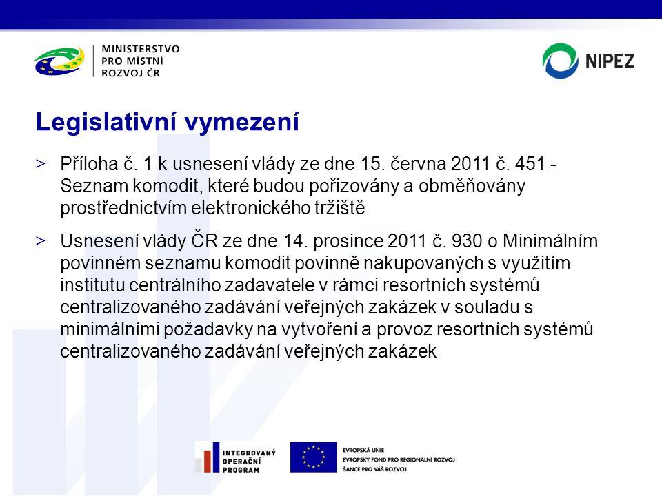 >Příloha č. 1 k usnesení vlády ze dne 15. června 2011 č. 451 - Seznam komodit, které budou pořizovány a obměňovány prostřednictvím elektronického trži
