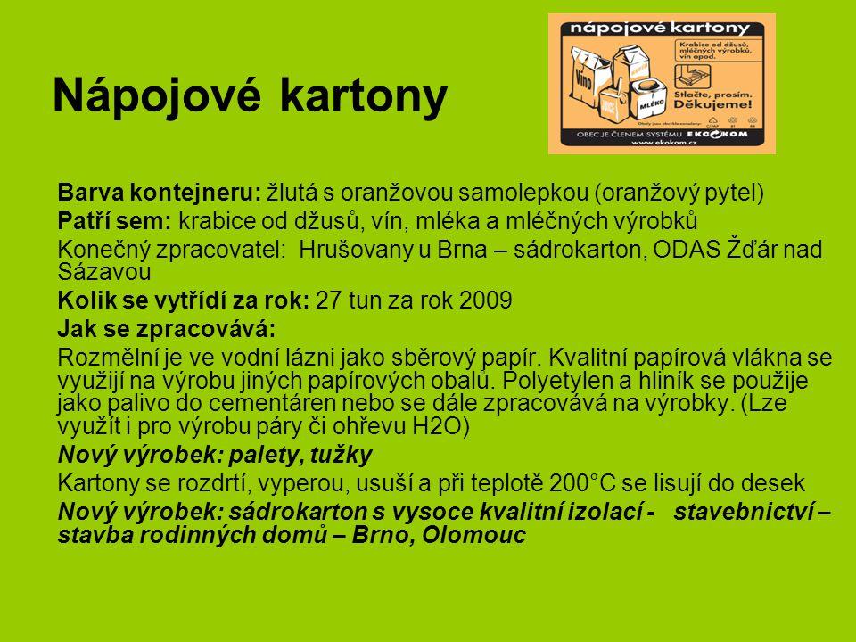 Nápojové kartony Barva kontejneru: žlutá s oranžovou samolepkou (oranžový pytel) Patří sem: krabice od džusů, vín, mléka a mléčných výrobků Konečný zp