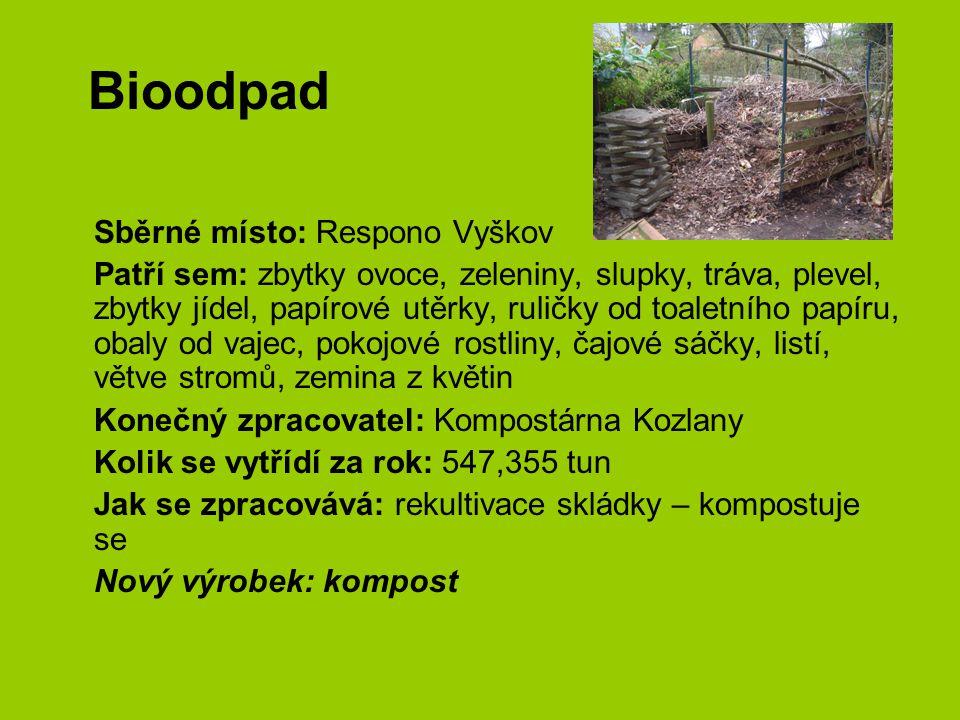Bioodpad Sběrné místo: Respono Vyškov Patří sem: zbytky ovoce, zeleniny, slupky, tráva, plevel, zbytky jídel, papírové utěrky, ruličky od toaletního p