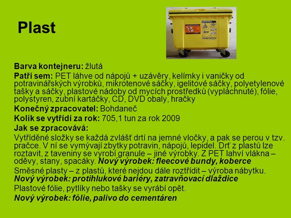 Plast Barva kontejneru: žlutá Patří sem: PET láhve od nápojů + uzávěry, kelímky i vaničky od potravinářských výrobků, mikrotenové sáčky, igelitové sáč